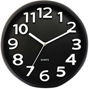 Universal® Round Wall Clock, Black, 13""