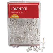 "Universal® Clear Push Pins, Plastic, 3/8"", 100/Pack"