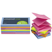 Universal One® Fan-Folded Pop-Up Notes, 3 x 3, 5 Colors, 12 100-Sheet Pads/Pack