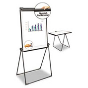 "Universal® Foldable Double Sided Dry Erase Easel, Plastic Frame, 28-1/2""W x 37-1/2""H, Melamine"