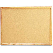 "Universal® Cork Board, Oak Frame, 24""W x 18""H, Natural"