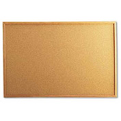 "Universal® Cork Board, Oak Frame, 36""W x 24""H, Natural"