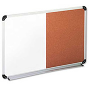 "Universal® Cork/Dry Erase Board, Aluminum/Plastic Frame, 36""W x 24""H, White/Natural"