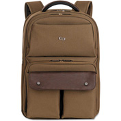 "SOLO® Executive Laptop Backpack, 15.6"", 11 1/2 x 4 1/4 x 18 1/8, Khaki/Brown"