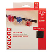 VELCRO®Brand Sticky-Back Hook and Loop Fastener Tape with Dispenser, 3/4 x 15 ft. Roll, Black