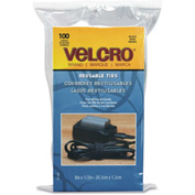 VELCRO®Brand Reusable Self-Gripping Cable Ties, 1/2 x Eight Inches, Black, 100 Ties/Pack