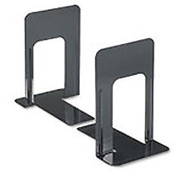 Jumbo Deluxe Metal Bookends, Nonskid Padded Base, Black Enamel, 1 Pair