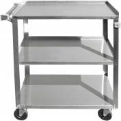 "Update International BC-2415SS - Bus Cart, 27-1/2""L x 16-1/4""W x 32-1/8""H, Stainless Steel"