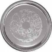 "Update International Round Serving Tray, 14""L x 13-7/8""W x 1-1/2""H, Chrome Plated, CT-14R - Pkg Qty 60"