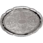 "Update International Oval Serving Tray, 14-3/4""L x 10-5/8""W x 1-1/2""H, Chrome Plated, CT-1510V - Pkg Qty 36"