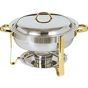 Update International Gold Accented Round Chafer, 4Qt, DC-4/GB