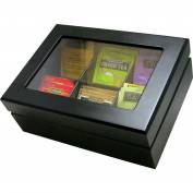 Update International Wood Tea Chest, 6 Comp, Black, TBC-6BK - Pkg Qty 12