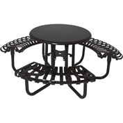 "UltraPlay 46"" Kensington Round Picnic Table, Solid Top w/ 3 Slatted Seats, Black"