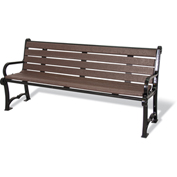 "UltraPlay 96"" Charleston Recycled Plastic Plank Bench, Brown"