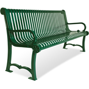 "UltraPlay 48"" Charleston Slat Bench w/ Back, Green"