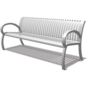 "UltraPlay 72"" Wilmington Bench w/ Back Slat, Silver"