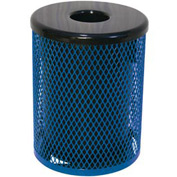 32 Gallon Thermoplastic Coated Diamond Pattern Trash Receptacle - Blue