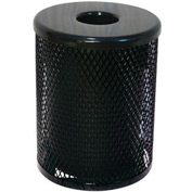55 Gallon Thermoplastic Coated Diamond Pattern Trash Receptacle - Black