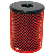 55 Gallon Thermoplastic Coated Diamond Pattern Trash Receptacle - Red