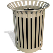 UltraPlay 36 Gallon Beige Lexington Receptacle w/Flat Lid & Liner, Trash Decal - LX-36FT-BGE-T