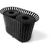 UltraPlay (2) 36 Gal. Black LX Receptacle w/Flat Lid & Liner, Cans/Plastics Decal - LX-72FT-BLK-C/P