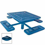 "46"" Single Pedestal Square Table, Inground, Perforated 78""W x 78""D - Blue"