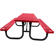 "8' Picnic Table, 2-3/8"" Frame, Perforated, Red"