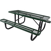 6' Rectangular Picnic Table, Diamond Pattern, Green