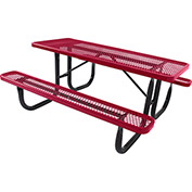 6' Rectangular Picnic Table, Diamond Pattern, Red