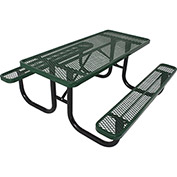 8' Rectangular Picnic Table, Diamond Pattern, Green