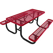 8' Rectangular Picnic Table, Diamond Pattern, Red