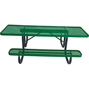 "8' ADA Picnic Table, Steel, Double-Sided, 2-3/8"" Frame, Perforated, Green"