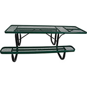 "8' ADA Picnic Table, Steel, Single-Sided, 2-3/8"" Frame, Diamond, Green"