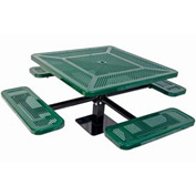 "46"" Single Pedestal Square Table, Surface Mount, Perforated 78""W x 78""D - Green"