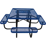 "46"" Steel Square Picnic Table, Diamond Pattern, Blue"