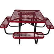 "46"" Steel Square Picnic Table, Diamond Pattern, Red"