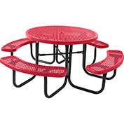 "46"" Round Table, Perforated, Red"