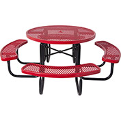 "46"" Steel Round Picnic Table, Diamond Pattern, Red"