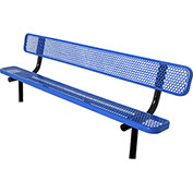 8' Bench with Back, Perforated, In Ground, Blue