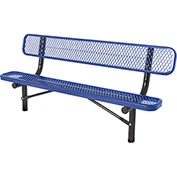 6' In-Ground Bench w/ Back, Diamond Pattern, Blue