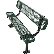 8' Surface Mount Bench w/ Back, Diamond Pattern, Green