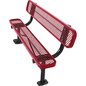 8' Surface Mount Bench w/ Back, Diamond Pattern, Red