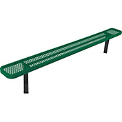 6' Bench w/o Back, Perforated, In Ground, Green