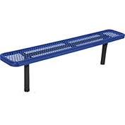 8' In-Ground Steel Bench, Diamond Pattern, Blue