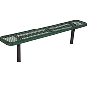 8' In-Ground Steel Bench, Diamond Pattern, Green