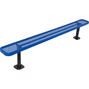8' Bench w/o Back, Perforated, Surface Mount, Blue