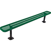 8' Bench w/o Back, Perforated, Surface Mount, Green