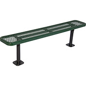 8' Surface Mount Steel Bench, Diamond Pattern, Green