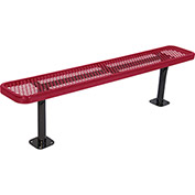 8' Surface Mount Steel Bench, Diamond Pattern, Red