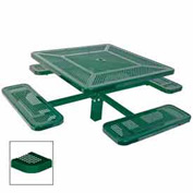 "46"" Single Pedestal Square Table, Inground, Perforated 78""W x 78""D - Green"